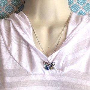 画像3: パウアシェルのバタフライのモチーフのネックレス